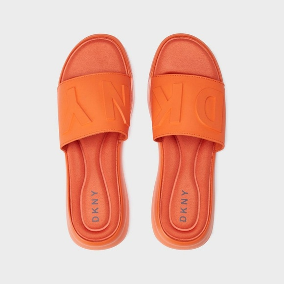 81f151db8e87c DKNY Shoes - DKNY Women s Orange Embossed Rubber Sandals 👡